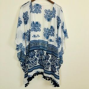 Xhilaration Blue & White Sheer Floral Kimono